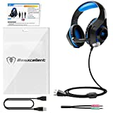 Beexcellent Gaming Headset für PS4 PC Xbox One, LED Licht Crystal Clarity Sound Professional Kopfhörer mit Mikrofon für Laptop Mac Handy Tablet Blau